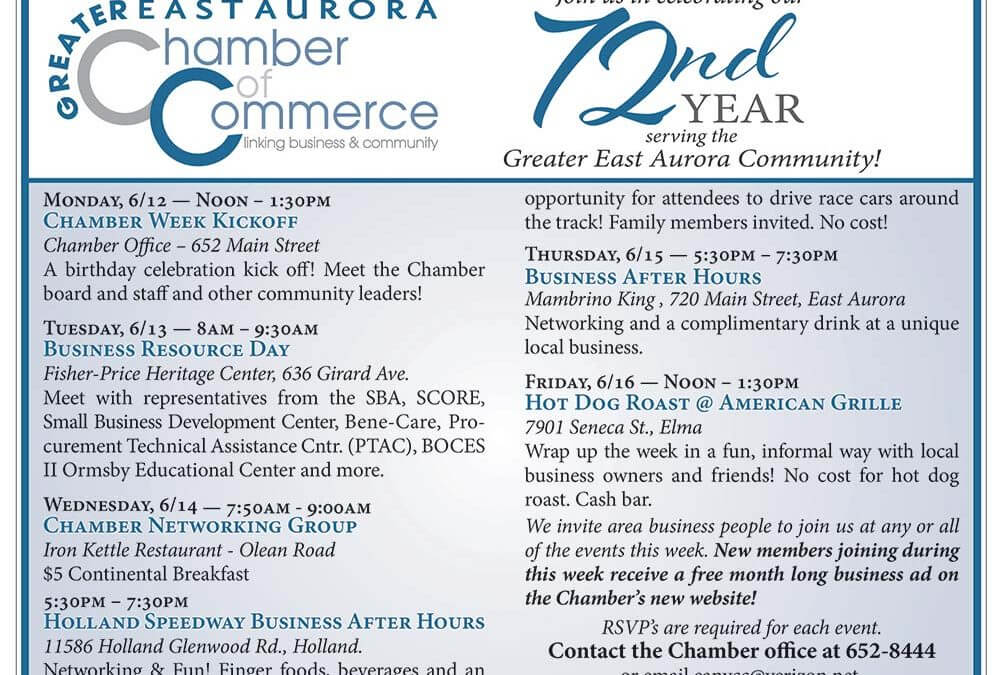 CHAMBER WEEK HIGHLIGHTS RESOURCES & THE RETURN ON INVESTMENT AVAILABLE TO GREATER EAST AURORA AREA BUSINESSES