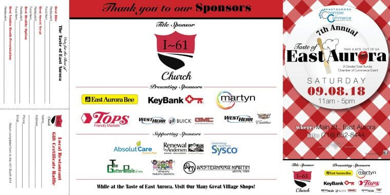 See You Saturday 9/8 For the Taste of East Aurora!