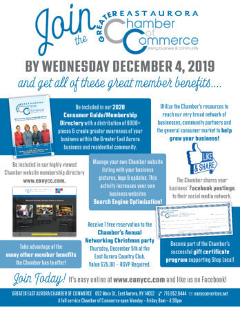 Join the Greater East Aurora Chamber by December 4, 2019!