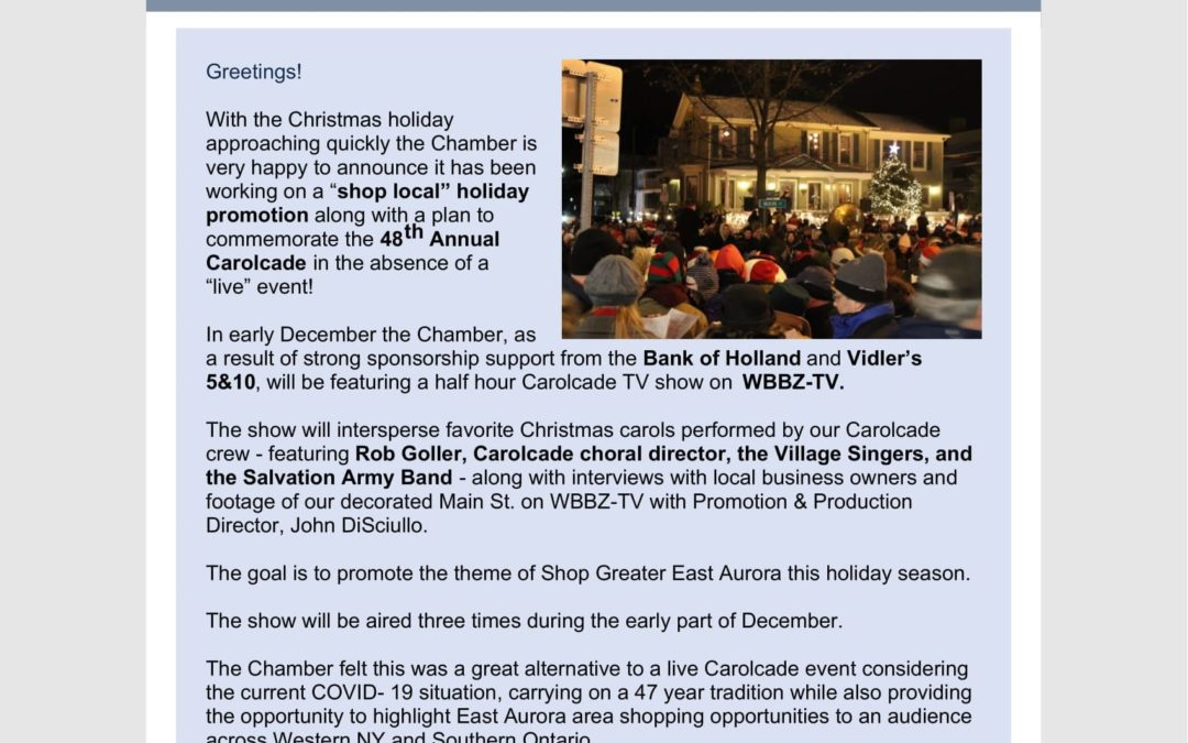 Get up-to-date on what's happening with the 2020 Carolcade and other Chamber initiatives.